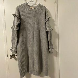 Michael Kors Ruffle Wool Knit Sweater Dress Grey